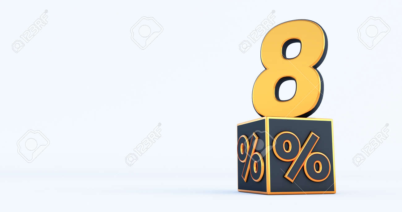 gold eight 8 percent number with Black cubes percentages isolated on a white background. 3d render - 171673012