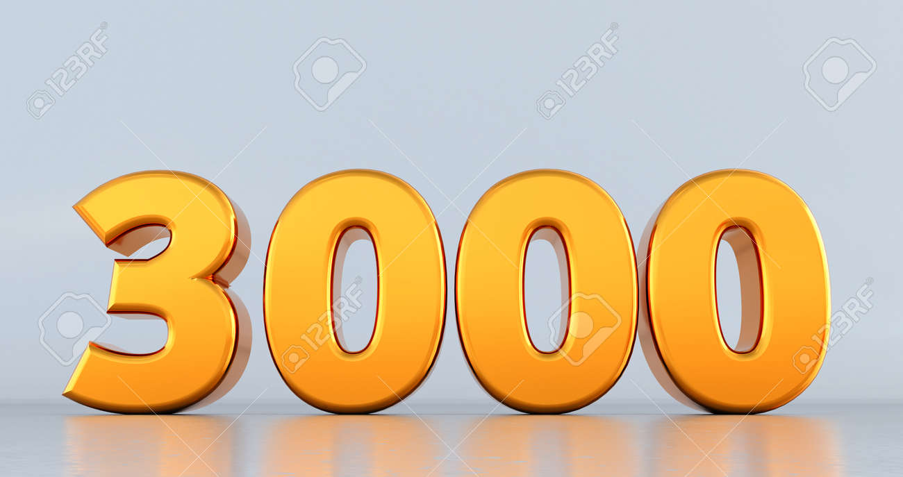 3d render of golden number 3000 on white background. gold three thousand - 171673013