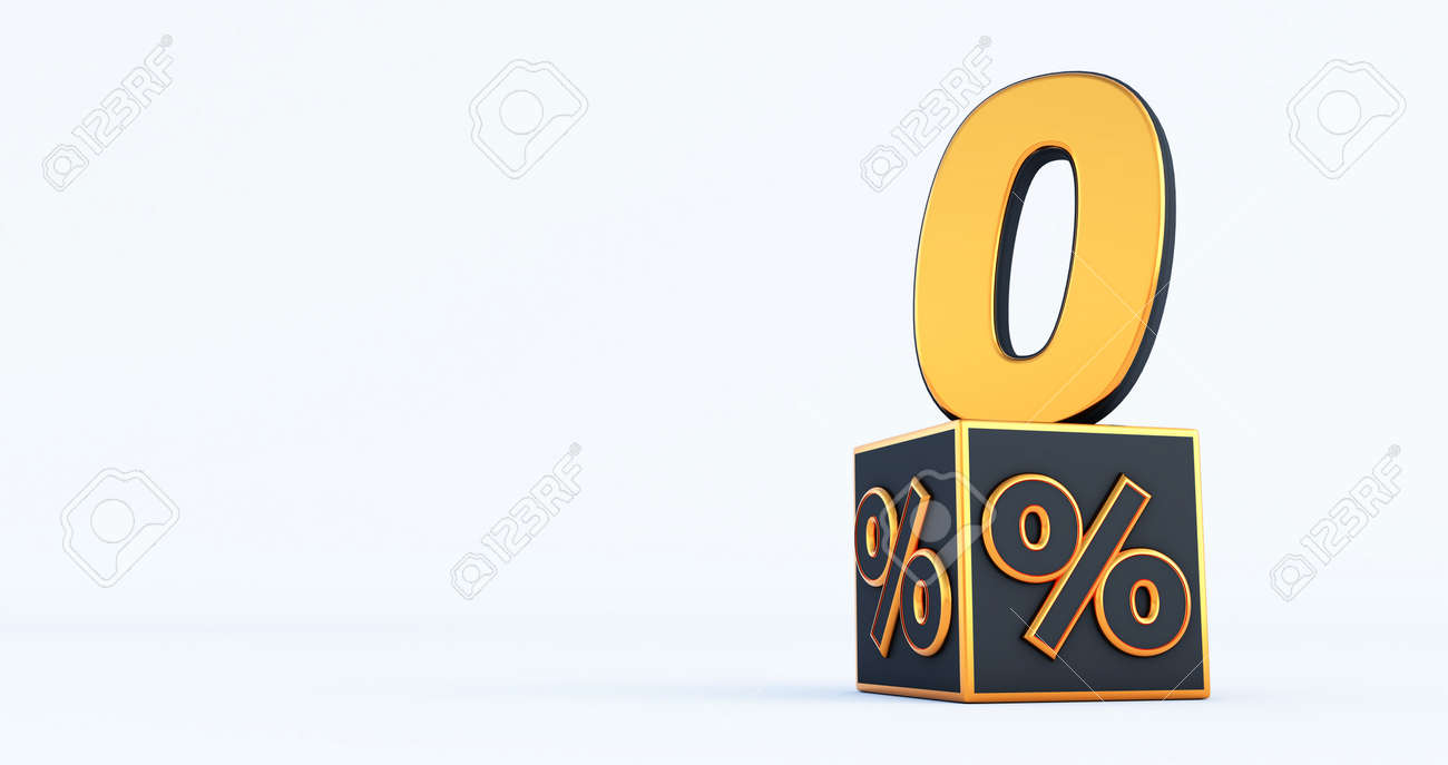 gold zero percent number with Black cubes percentages isolated on a white background. 3d render - 171632091