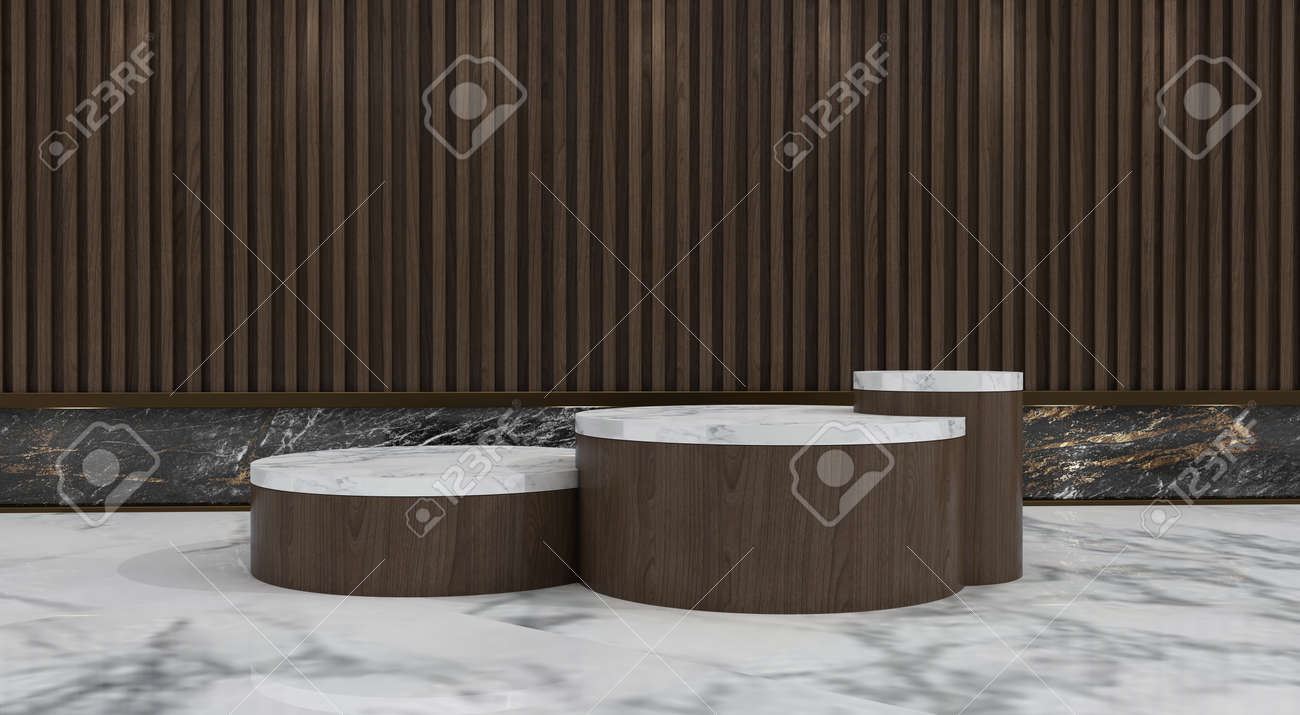 Abstract minimal scene with geometric forms. show cosmetic product, Podium, stage pedestal or platform. 3D wooden podium display with leaf shadow. 3d render - 171726926