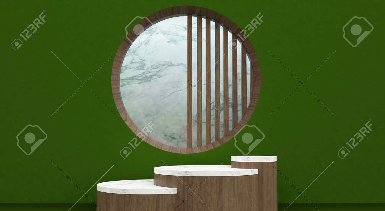 Abstract minimal scene with geometric forms. show cosmetic product, Podium, stage pedestal or platform. 3D wooden podium display with leaf shadow. 3d render - 171726928