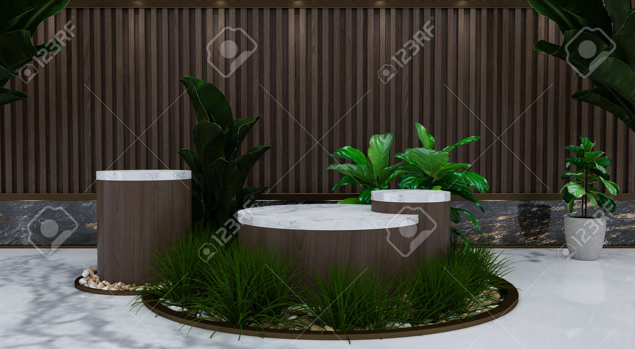 Abstract minimal scene with geometric forms. show cosmetic product, Podium, stage pedestal or platform. 3D wooden podium display with leaf shadow. 3d render - 171726931