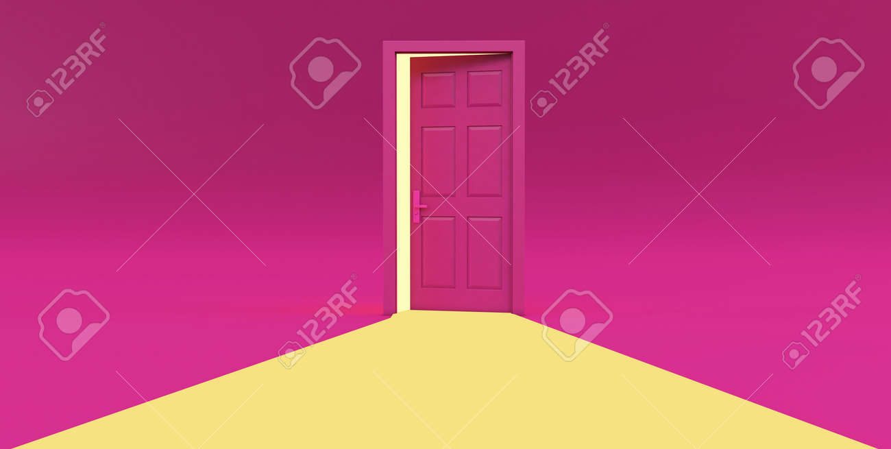 3d render of yellow light going through the open door isolated on pink background. - 171776182