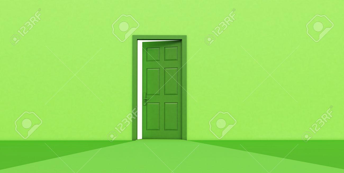 3d render of green open door isolated on green background. - 171762704