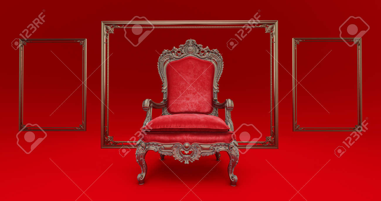 3D render of Classic baroque armchair throne in bronze and red colors isolated on dark red background. armchair throne whithe golden frame - 171776183
