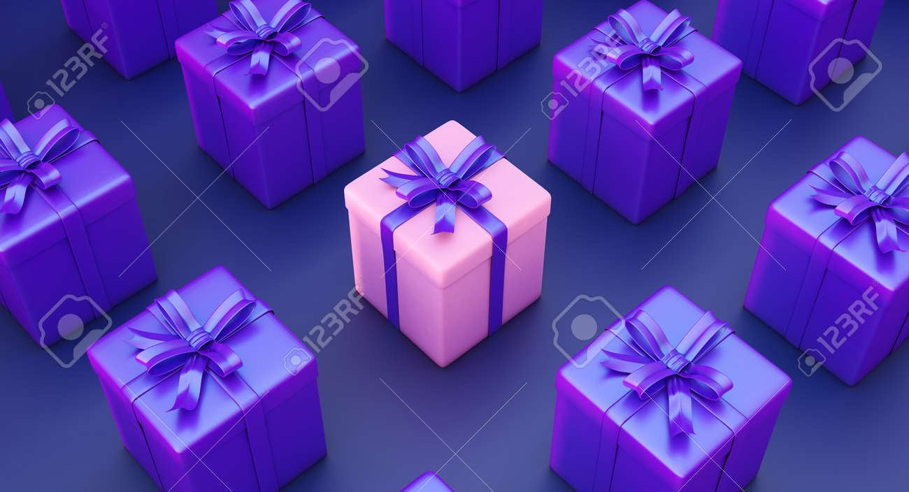Set of gifts box. Surprise boxes. Celebration decoration objects. Isometric square gift box set. - 174242587