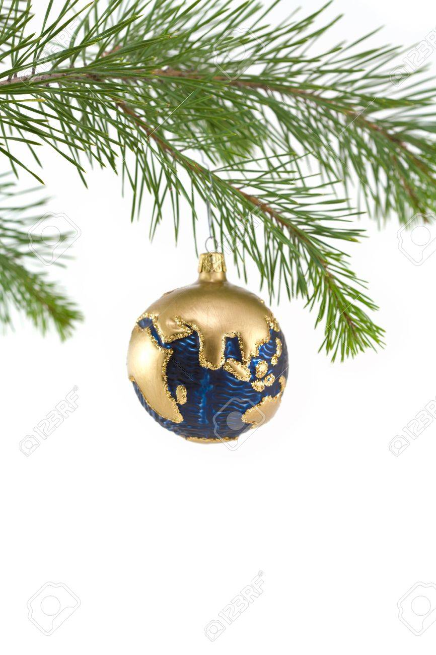 Blue And Gold Globe Christmas Ornament Showing India, Asia, And ...