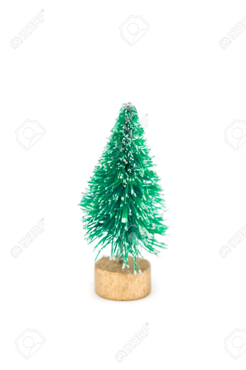 A Miniature Fake Flocked Christmas Tree Toy Stock Photo, Picture ...