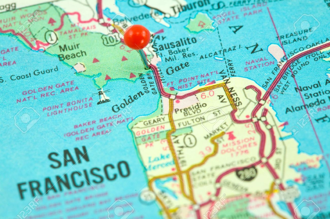 Map Of San Francisco With Golden Gate Bridge Pinned And Focused