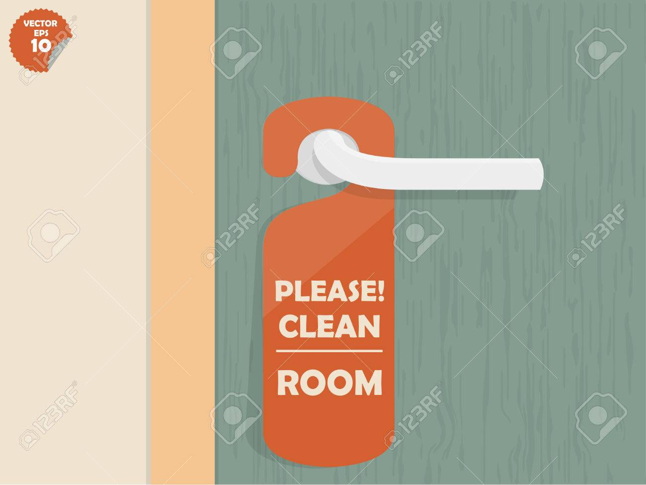 Door Lock Hanging Room Tag With Text Shown Please Clean Room,room ...