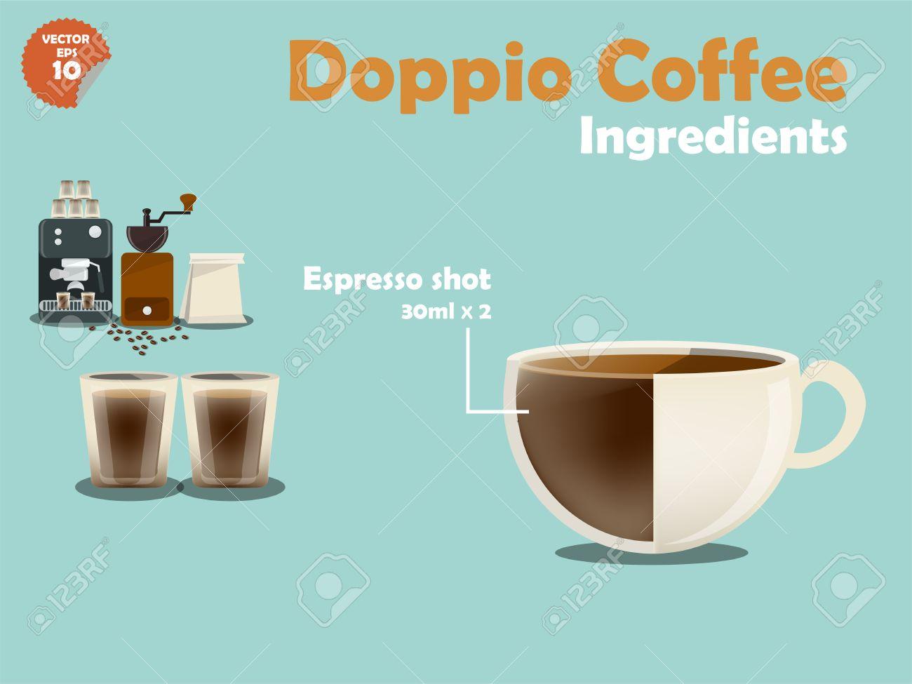 Spiksplinternieuw Vettoriale - Progettazione Grafica Di Ricette Di Caffè Doppio NP-11
