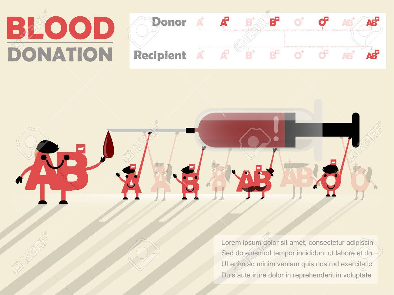 Beautiful Design Of Blood Donation Info Graphic That Recipient Is AB Negative Stock Vector