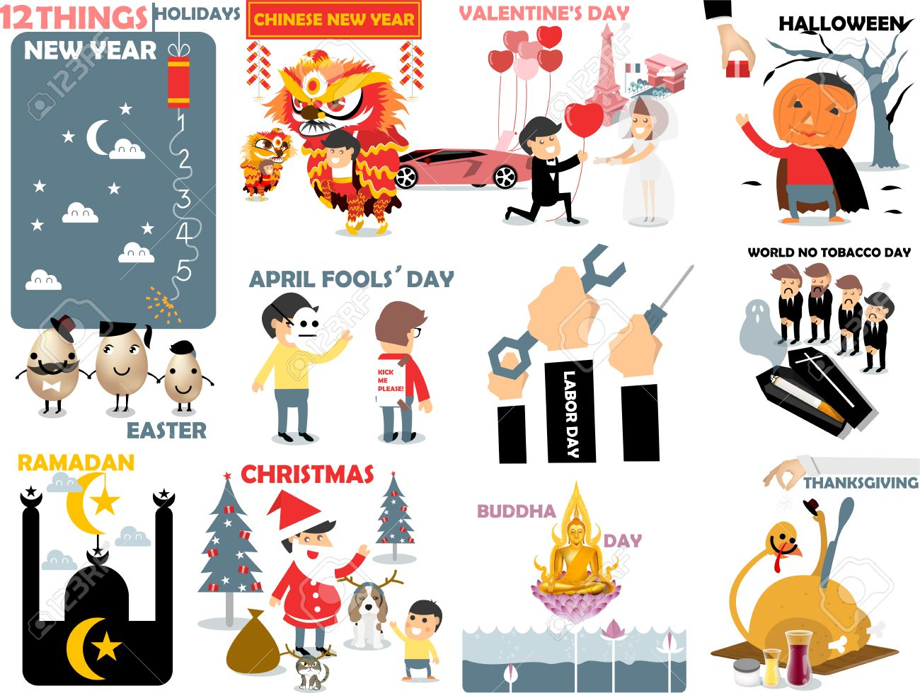 Halloween Thanksgiving Christmas Clipart.Beautiful Graphic Of 12 International Holidays New Year Chinese