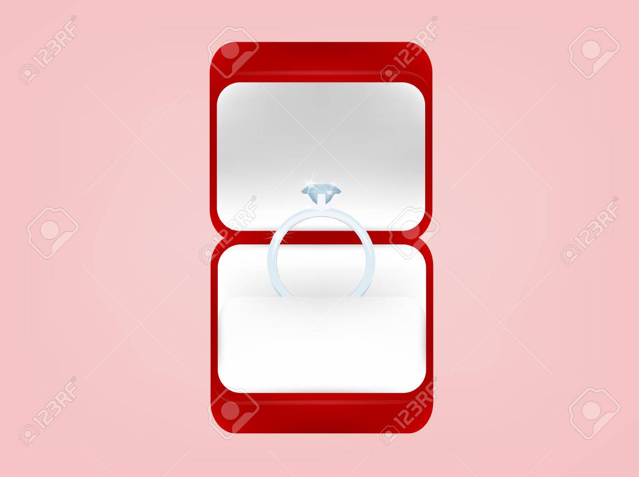 Beautiful Graphic Design Of Wedding Ring In Red Box,wedding Concept ...