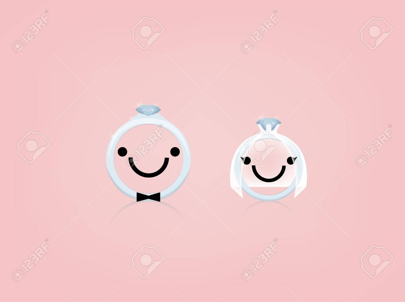 Beautiful Graphic Design Of Wedding Ring With Smile Face And ...