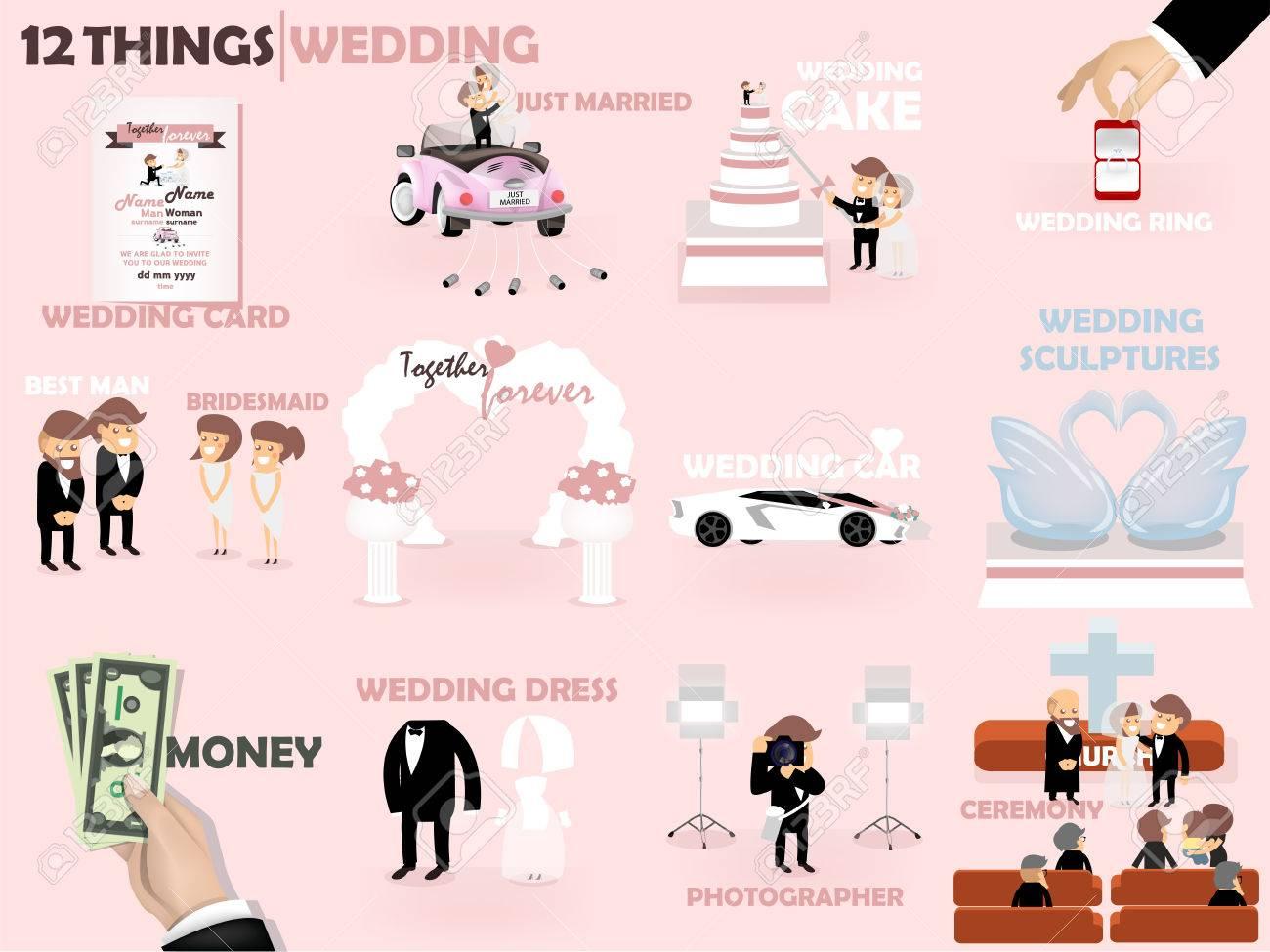 Schöne Grafik Design 12 Dinge, Von Hochzeit: Hochzeitskarte Einladung,  Kuchen, Ring