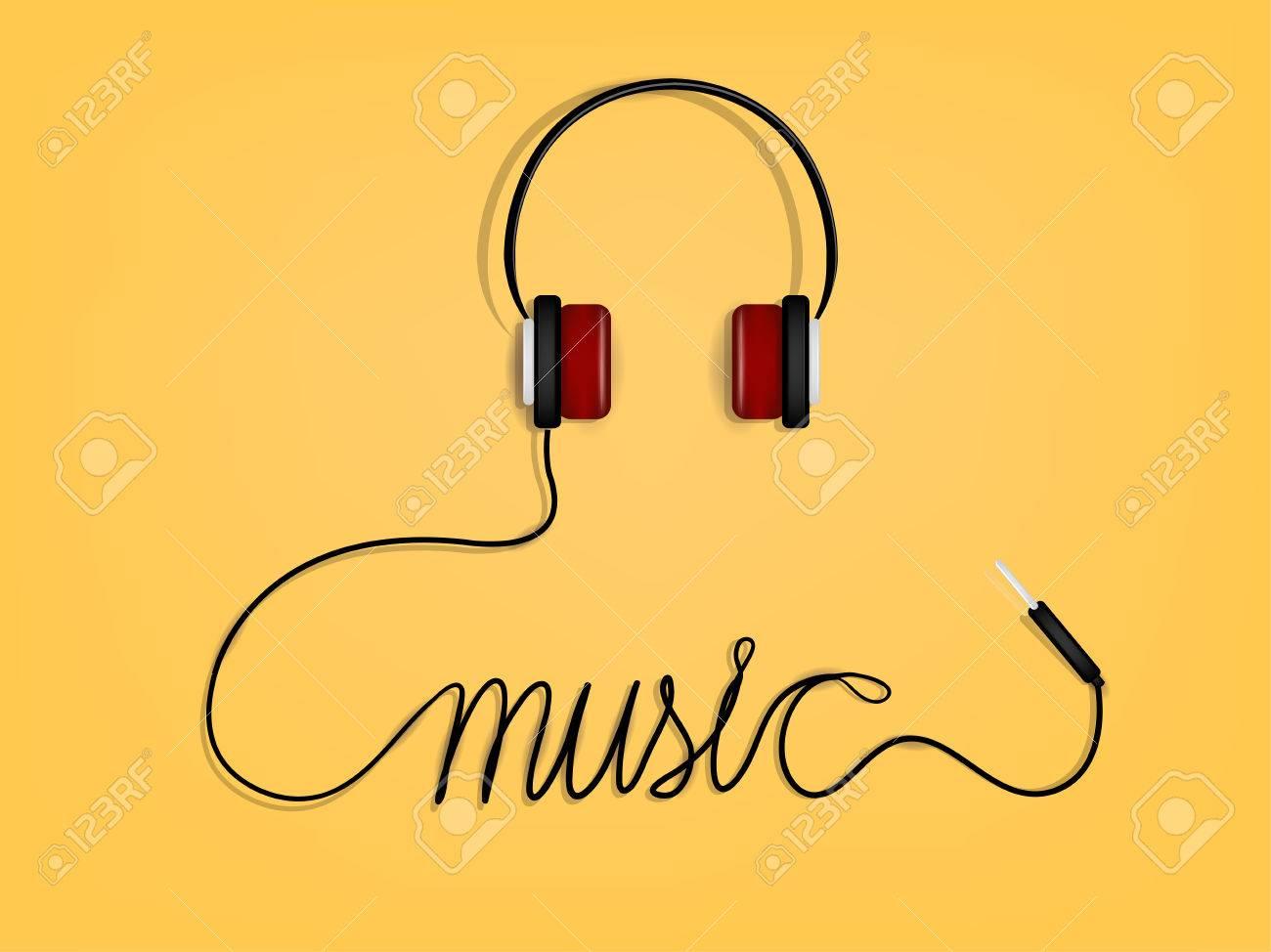 Grafik-Design Von Musik, Kopfhörer Des Drahtes Als Musik Alphabet ...