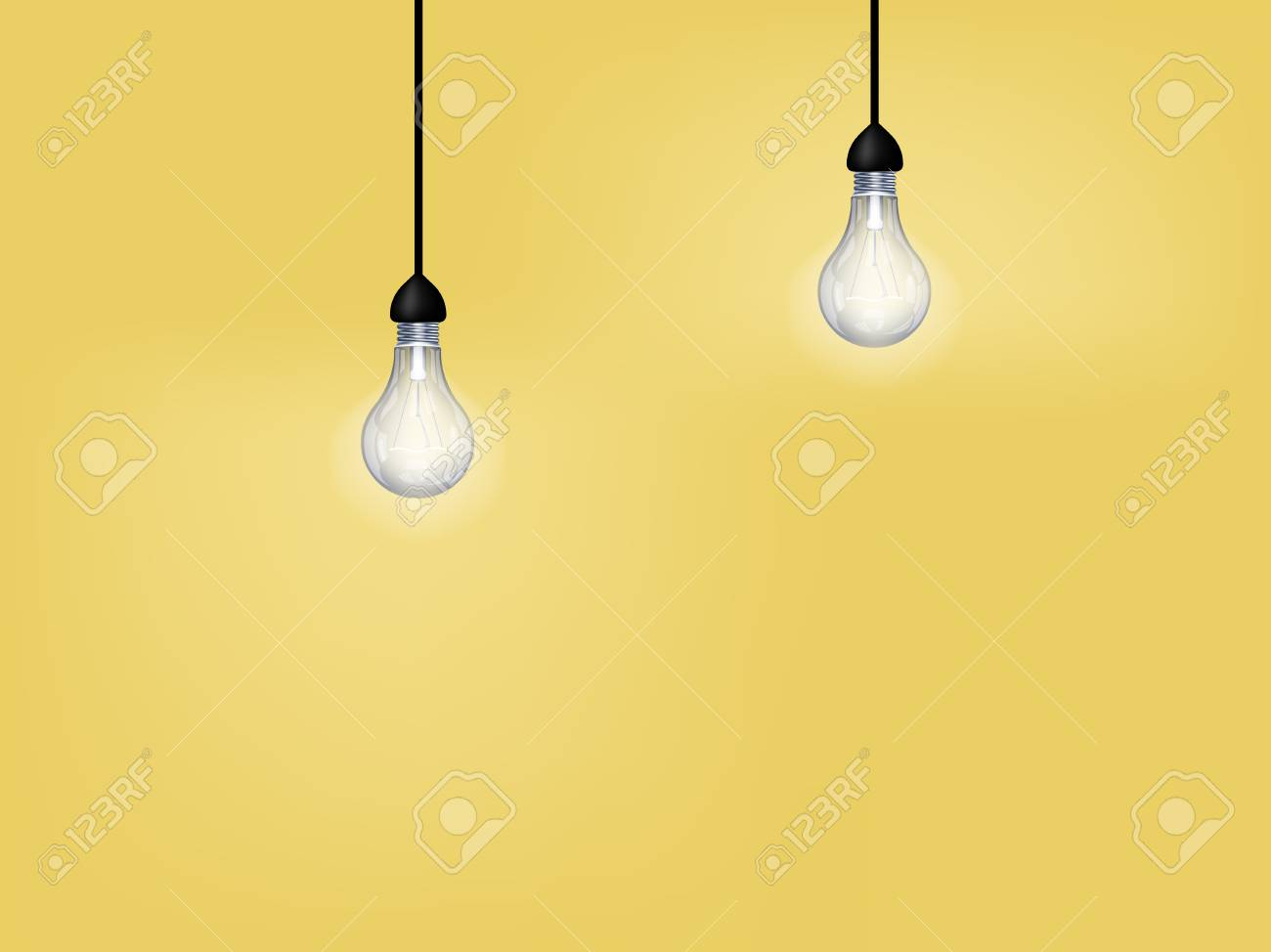 Beautiful graphic design of light bulb on yellow background with