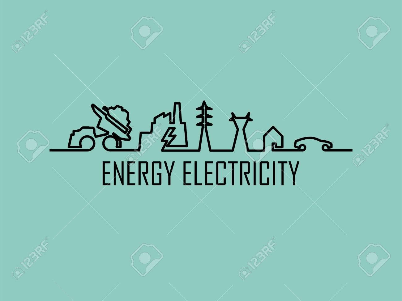 ligne mono illustration dlectricit la maison systme dalimentation d nergie - Alimentation Electrique D Une Maison