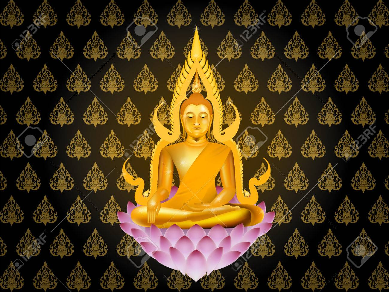 buddha sitting on lotus on thai texture style background, buddhism wallpaper background illustration vector graphic