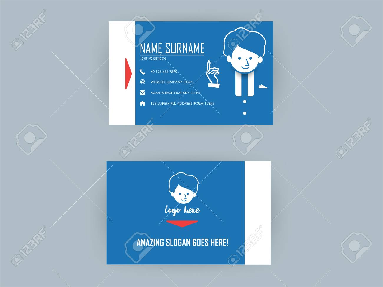Beautiful Graphic Design Vector Of Blue Color Business Card Royalty ...