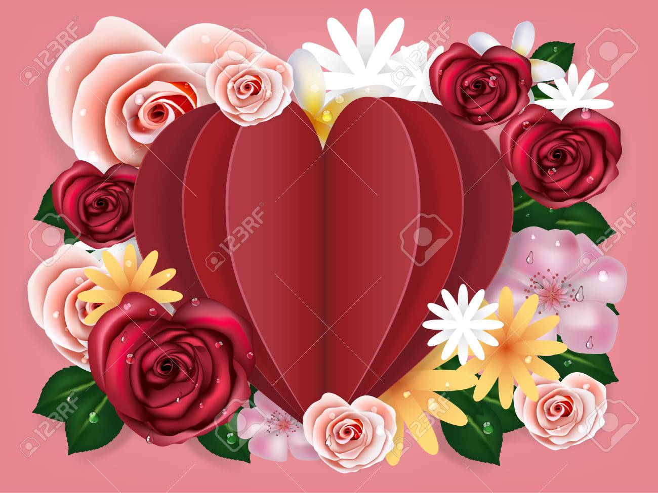 Illustration Vector Realistic Of Beautiful Rose Flowers Background