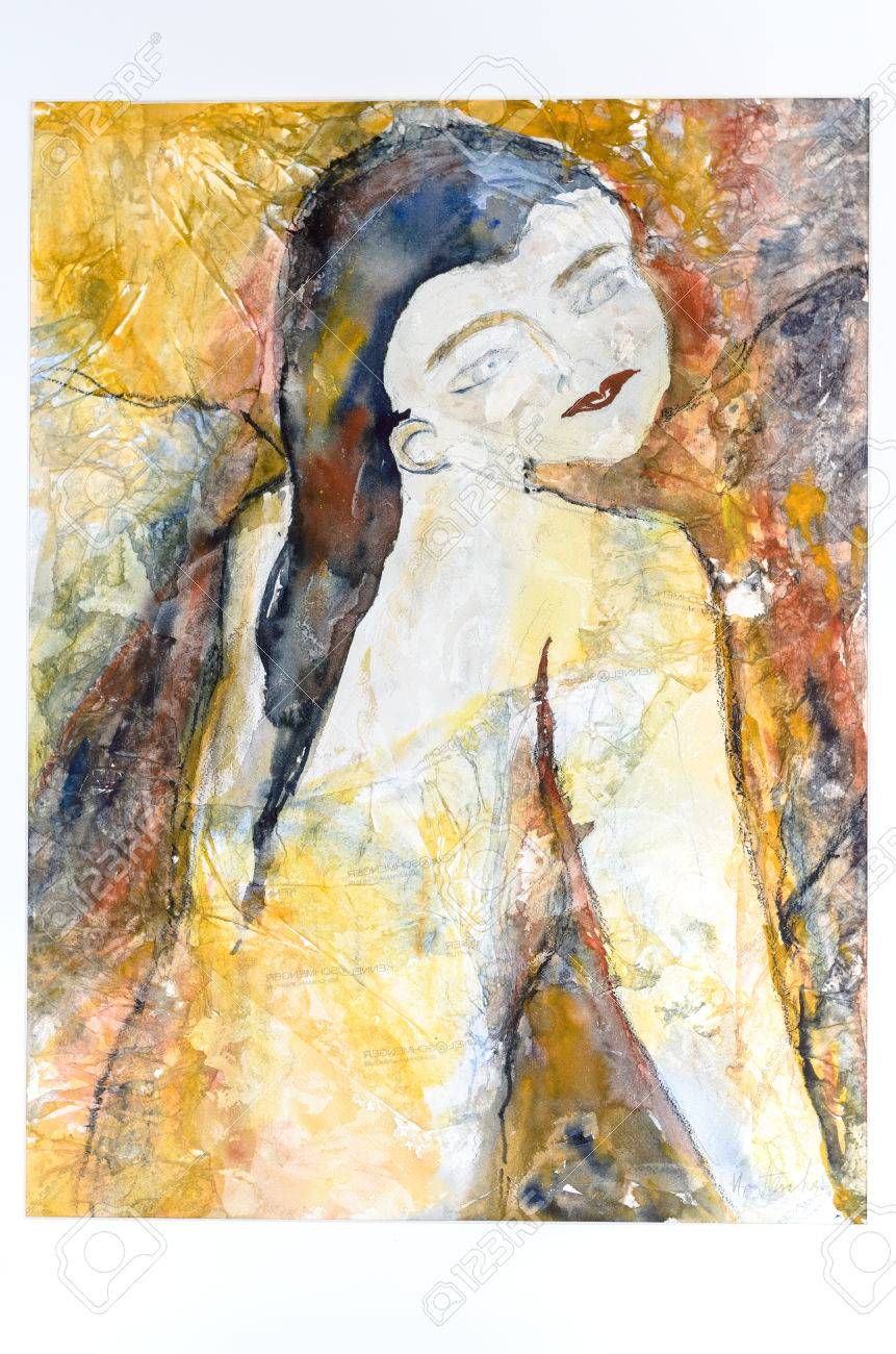 Modern surrealistic watercolor painting of a young nude woman with long  black hair and her back