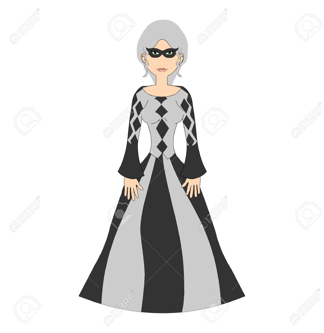 Historical Harlquin Gary Haired Woman Stock Photo - 2252374