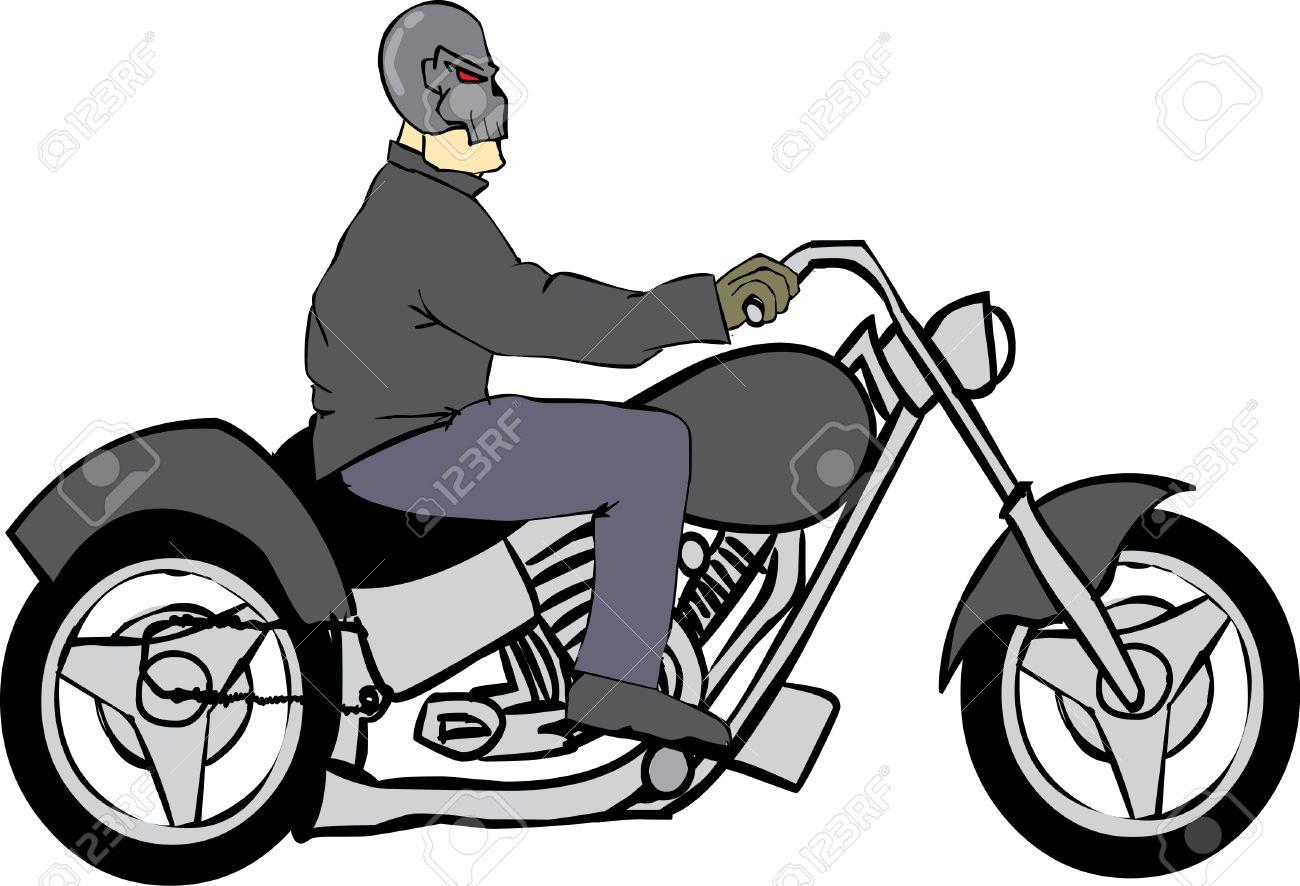 Bike Rider with Skull Helmet Stock Vector - 2459030