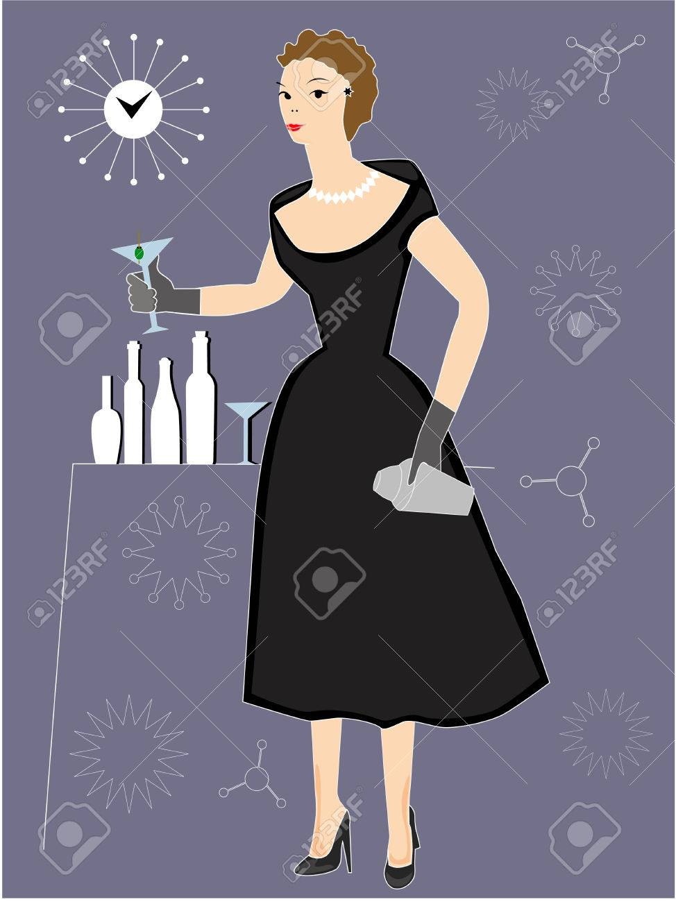 8aea7f4831 Woman Drinking Cocktail At 1950 s Party In Black Dress Royalty Free ...