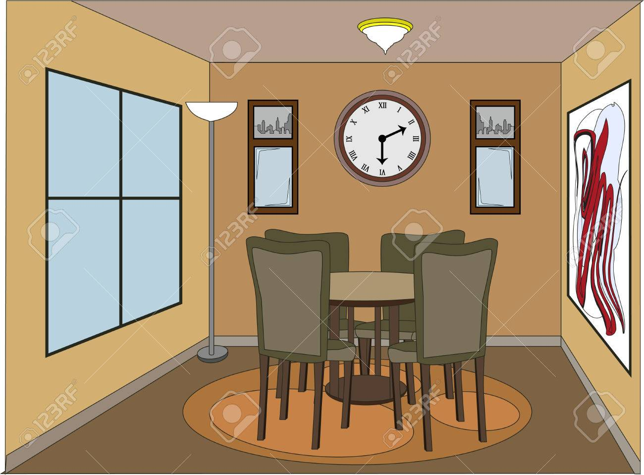 Casual Dinning Room With Accent Pieces Royalty Free Cliparts ...