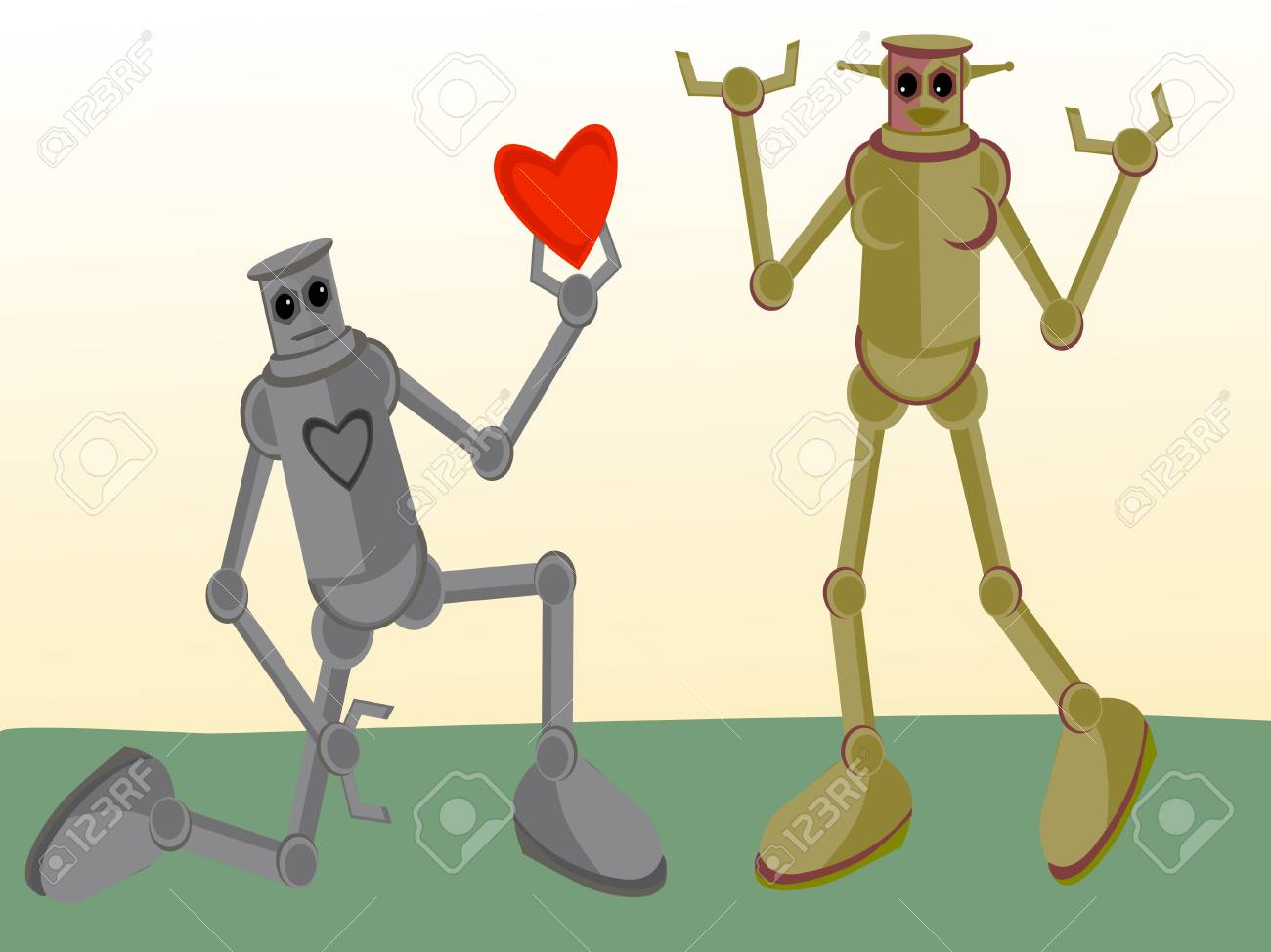 Male Robot giving his heart to Female Robot Stock Vector - 4098527