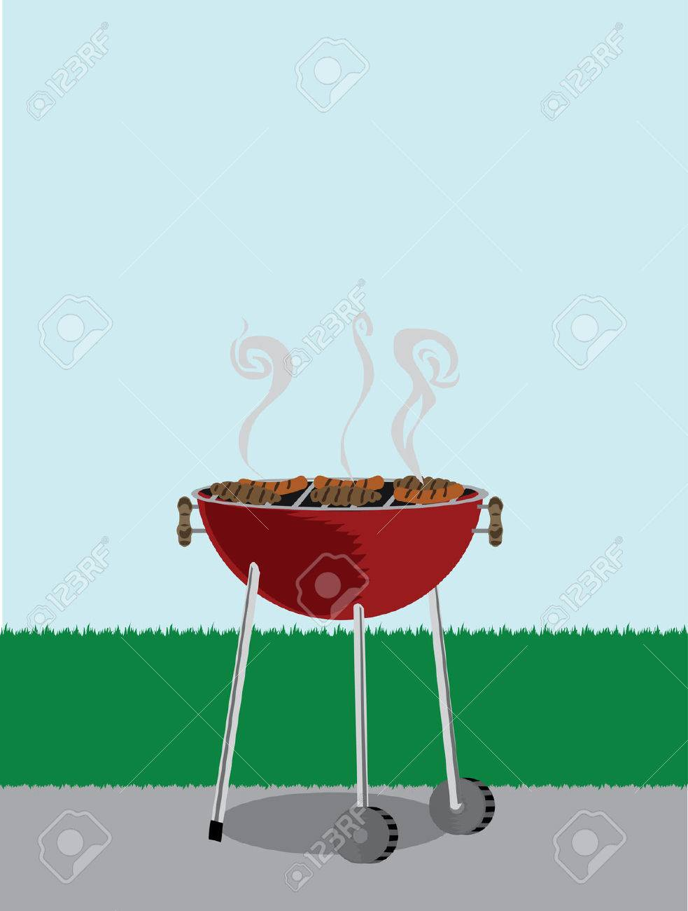Cookout border clipart hot dog cookout invite stock vector art - Charcoal Grill Bbq Grill Outside Covered With Cooking Hotdogs
