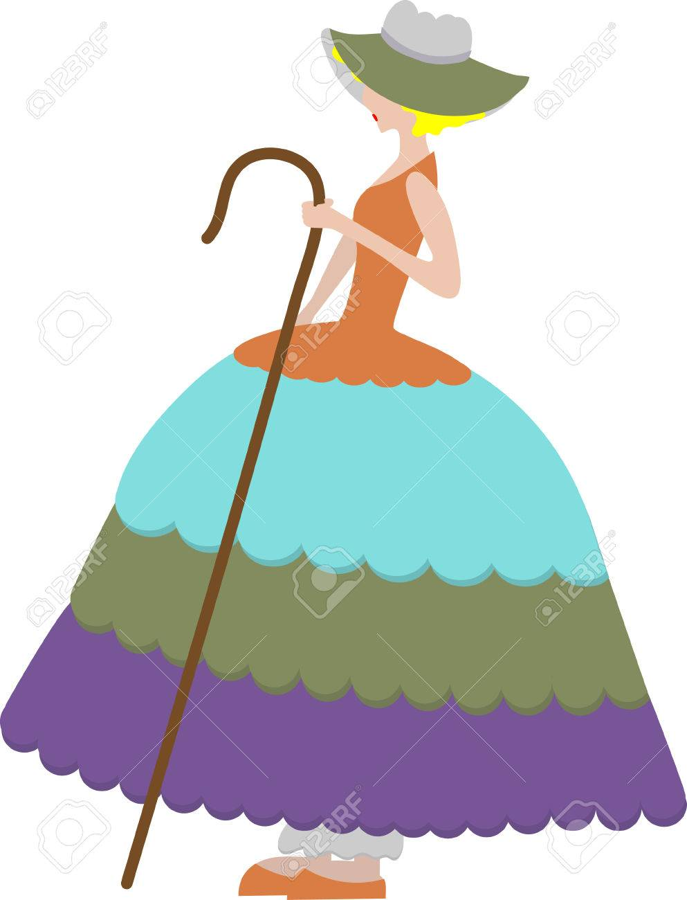 Girl holding cane Isolated Stock Vector - 5062970