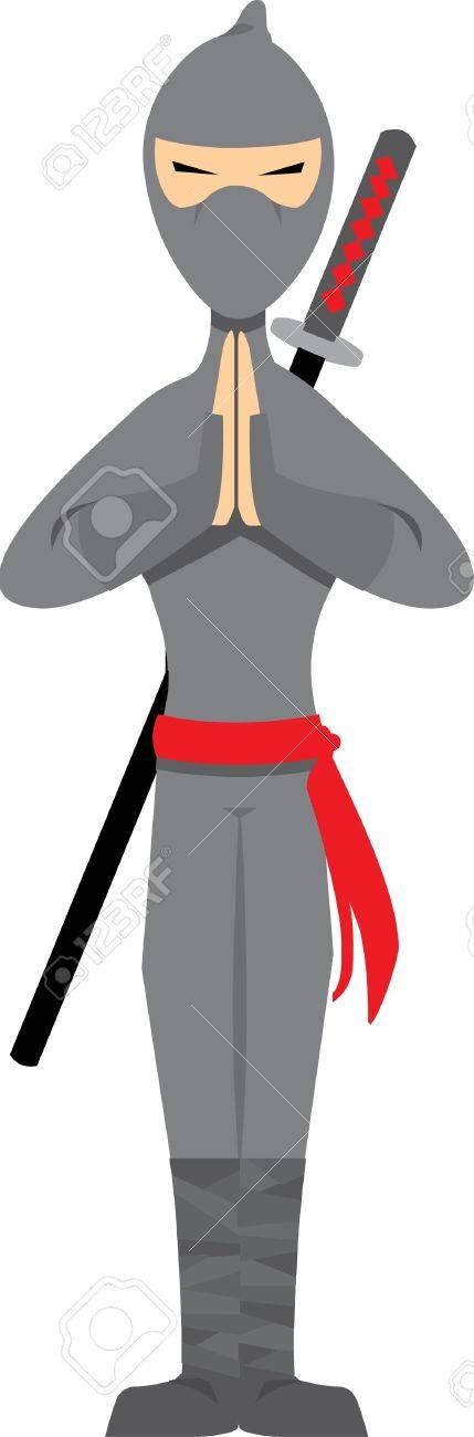 Ninja Posing isolated on white - Vector Stock Vector - 5115658