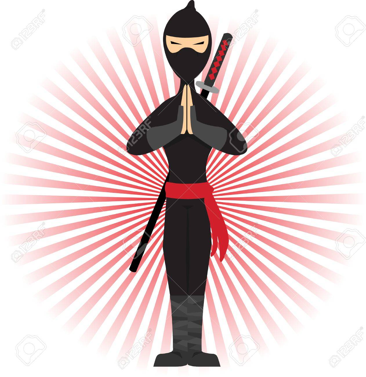 Ninja standing in pose accented by red rays Stock Vector - 5185685