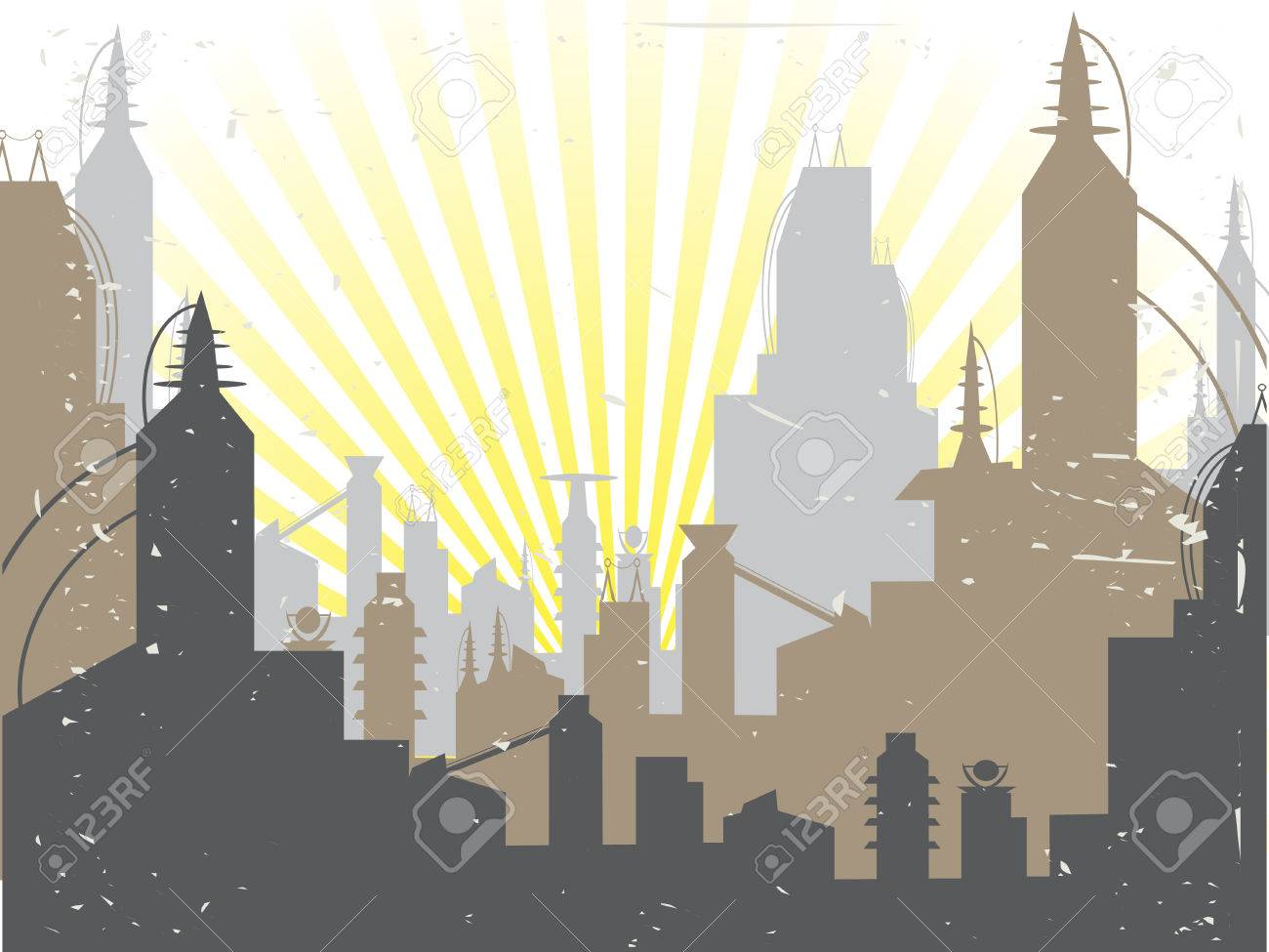 Scifi Grunge Future City sun rising - Vector Background Stock Vector - 5185687