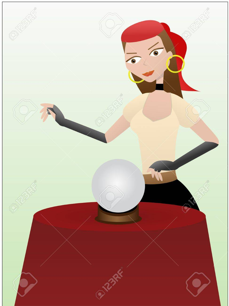 Fortune teller gypsy standing over crystal ball Stock Vector - 6270873