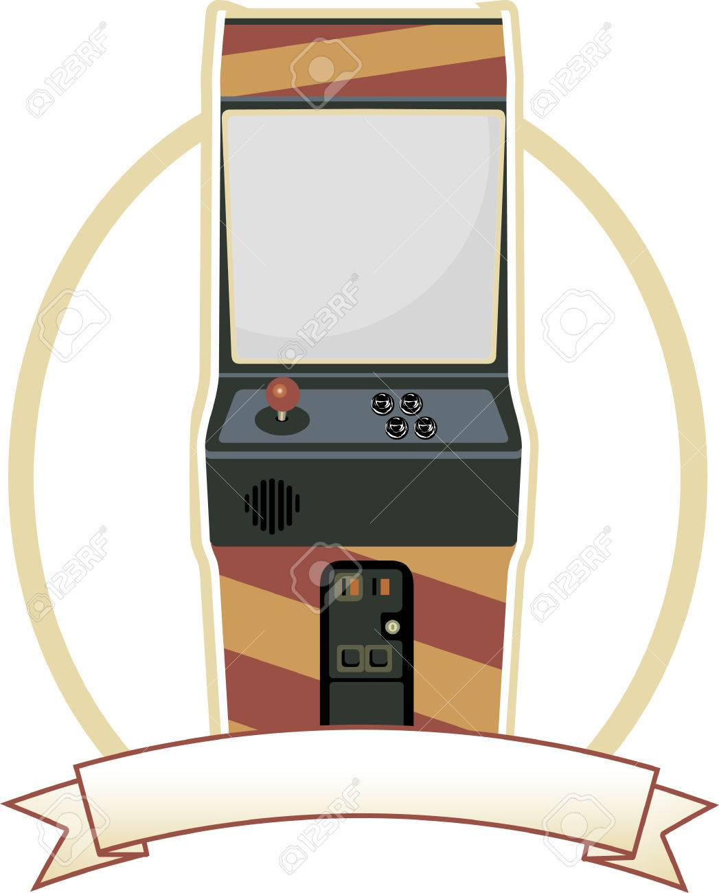 Video Arcade Cabinet Oval Badge Stock Vector - 6689481