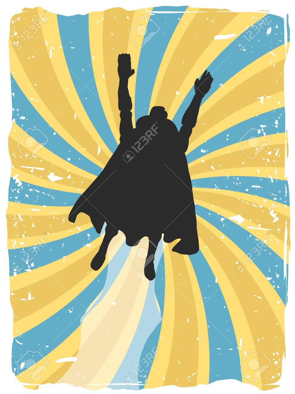 Superhero silhouette flies up through swirl grunge Stock Vector - 6862571