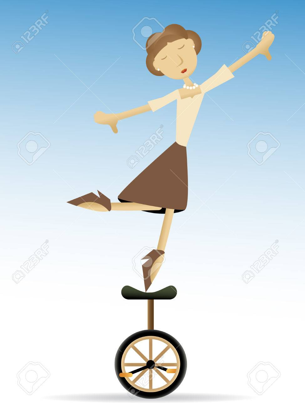 Woman balancing on tippy toes on unicycle Stock Vector - 7729335