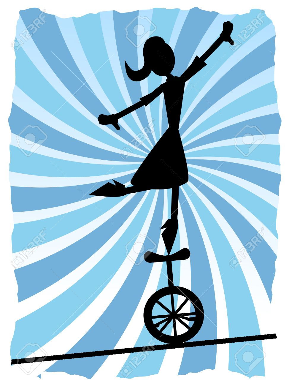 Silhouette of Woman balancing on unicycle on rope Stock Vector - 8085436