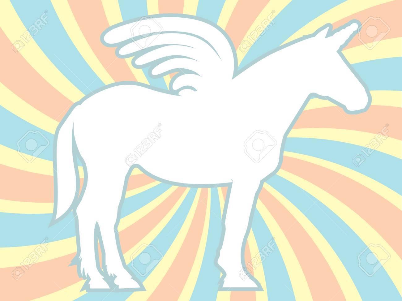 White Silhouette Unicorn Swirl Background Stock Vector - 8195244