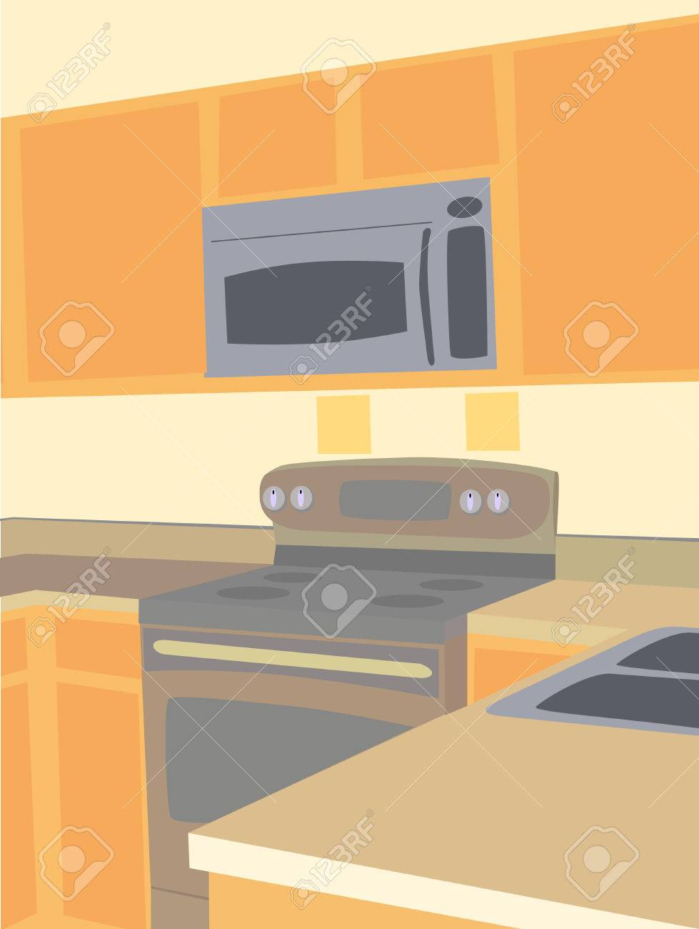 Cartoon kitchen counter gallery - Cartoon Kitchen Counter Corner Angled View Of Empty Kitchen Microwave And Stove Counter Tops Stock