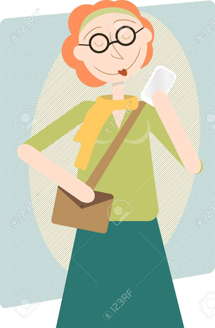 Modern Woman Enjoying cell phone, retro style illustration Stock Vector - 8977625