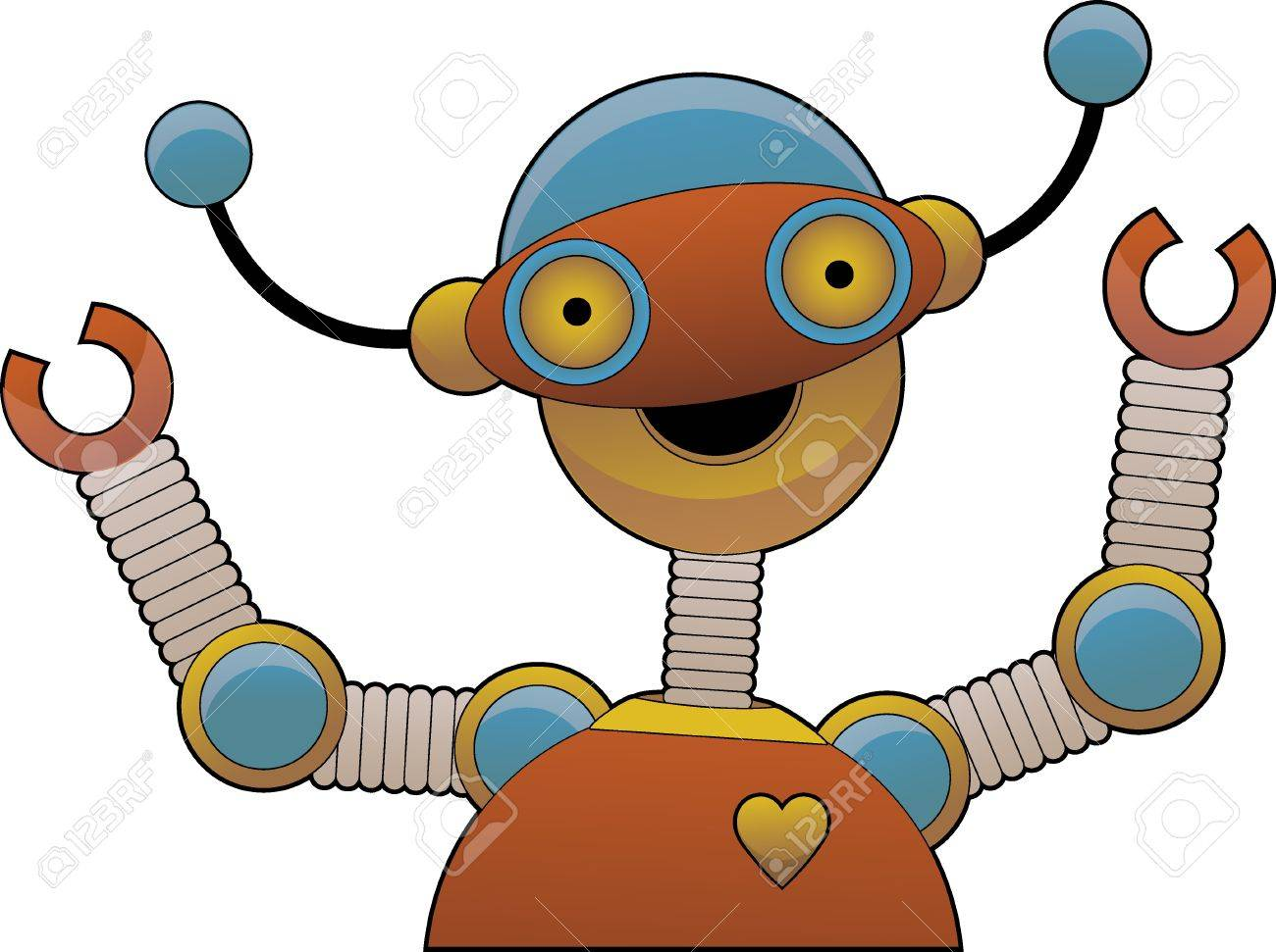 Cheering bright colorful shiny robot smiling Stock Vector - 9931161