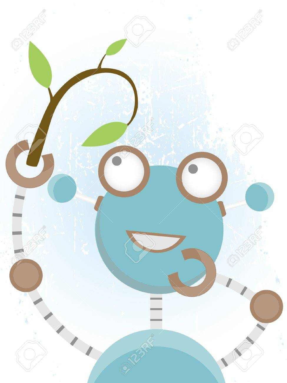 Happy robot admirers branch with leaves Stock Vector - 10422684