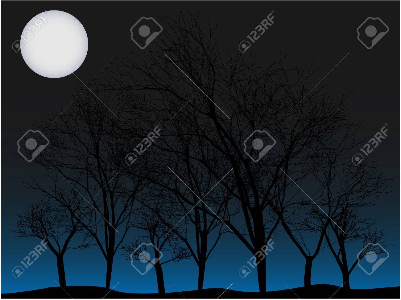 Several creepy baron forest of  Creepy Woods Moon