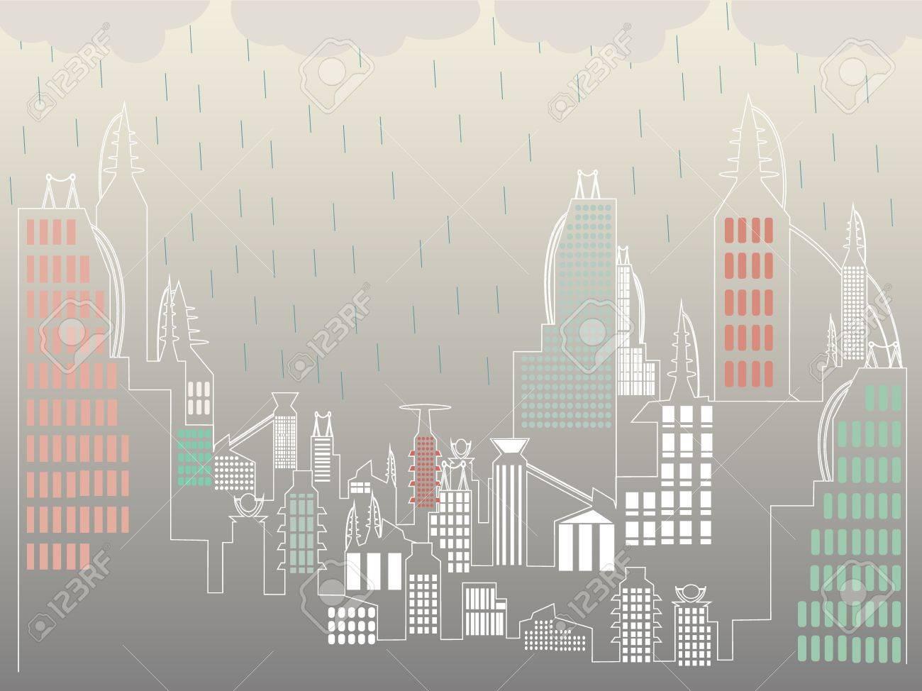 Overcast raining above ultra simple city landscape Stock Vector - 10932029