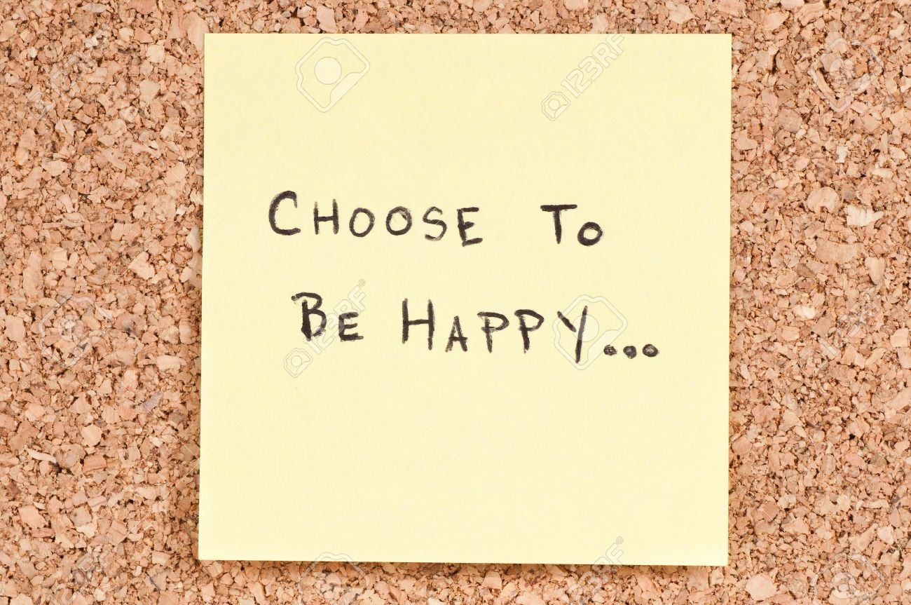 Choose To Be Happy Handwritten On A Sticky Note Stock Photo